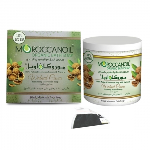 moroccan organic bath soap with walnut casca  1000 ml